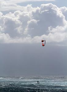 Kitesurfing, west of Ho'okipa, Maui, Hawaii. May 2012
