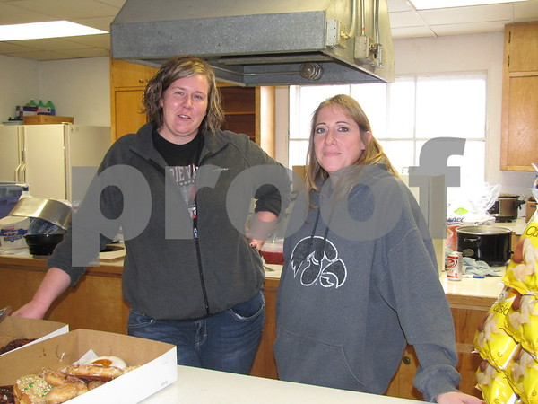 Michelle Rurup and Jodie Telfer served up hot sandwiches, homemade pie, and many other items at the Sports Show.