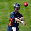 Denver Broncos quarterback Peyton Manning (18) throws a pass during minicamp at the NFL team's football training facility in Englewood, Colo., on Monday, May 21, 2012. (AP Photo/Ed Andrieski)