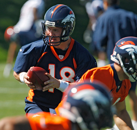 Denver Broncos quarterback Peyton Manning (18) takes a snap during minicamp at the NFL team's football training facility in Englewood, Colo., on Monday, May 21, 2012. (AP Photo/Ed Andrieski)
