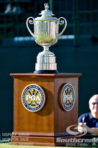 The Wanamaker Trophy sits in the sunlight on Thursday during the first round of the PGA Championships at the Atlanta Athletic Club in Johns Creek, GA.