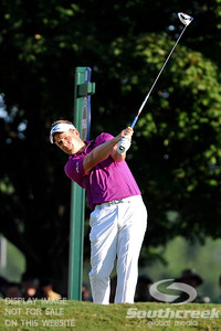 Luke Donald tees off on Thursday during the first round of the PGA Championships at the Atlanta Athletic Club in Johns Creek, GA.