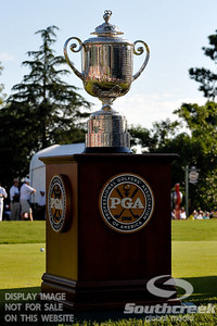 The Wanamaker Trophy greets the players at the #1 tee box on Thursday during the first round of the PGA Championships at the Atlanta Athletic Club in Johns Creek, GA.
