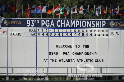 during the practice rounds on Monday before the beginning of the PGA Championships at the Atlanta Athletic Club in Johns Creek, GA.