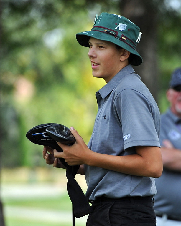 . Mountain View\'s Drew Visocky smiles after his tee shot on the 12th hole during the 4A Region 3 Tournament at the Olde Course at Loveland on Wednesday, Sept. 19, 2018. (Sean Star/Loveland Reporter-Herald)