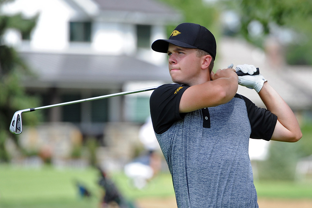 . Thompson Valley\'s Whit Hewett watches his tee shot on the 12th hole during the 4A Region 3 Tournament at the Olde Course at Loveland on Wednesday, Sept. 19, 2018. (Sean Star/Loveland Reporter-Herald)