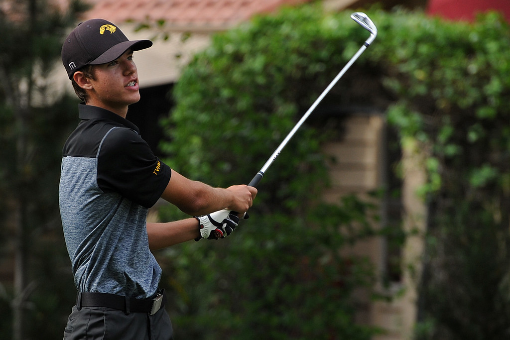 . Thompson Valley\'s Mason Magley watches his tee shot on the second playoff hole to decide an alternate during the 4A Region 3 Tournament at the Olde Course at Loveland on Wednesday, Sept. 19, 2018. (Sean Star/Loveland Reporter-Herald)
