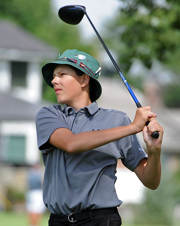 . Mountain View\'s Drew Visocky watches his tee shot on the 12th hole during the 4A Region 3 Tournament at the Olde Course at Loveland on Wednesday, Sept. 19, 2018. (Sean Star/Loveland Reporter-Herald)