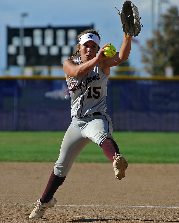 . Berthoud\'s Addi Spears winds up for a pitch during a game Tuesday, September, 11, 2018 at Holy Family High School in Broomfield, Colorado. (Sean Star/Loveland Reporter-Herald)