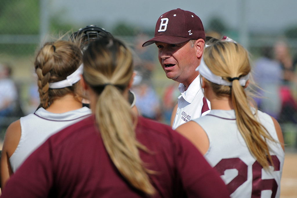 . Berthoud coach Buddy Kouns talks to his team between innings during a game Tuesday, September, 11, 2018 at Holy Family High School in Broomfield, Colorado. (Sean Star/Loveland Reporter-Herald)