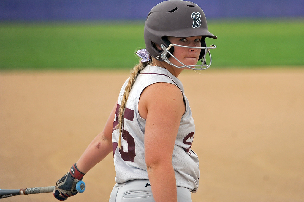 . Berthoud\'s Sarah Jorissen waits for her at-bat during a game Tuesday, September, 11, 2018 at Holy Family High School in Broomfield, Colorado. (Sean Star/Loveland Reporter-Herald)