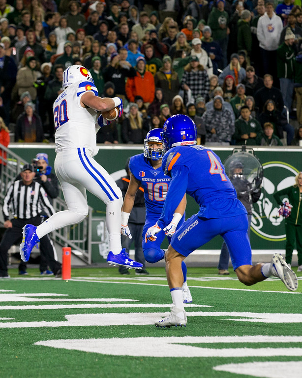 . Colorado State tight end Dalton Fackrell (30) pull sin a touchdown pass against Boise State Saturday evening Nov., 11, 2017, at the CSU Stadium in Fort Collins. (Michael Brian/For the Reporter-Herald)
