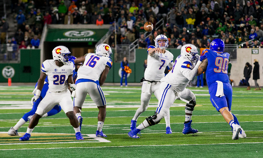 . Colorado State quarterback Nick Stevens (7) throws against the Boise State defense Saturday evening Nov., 11, 2017, at the CSU Stadium in Fort Collins. (Michael Brian/For the Reporter-Herald)