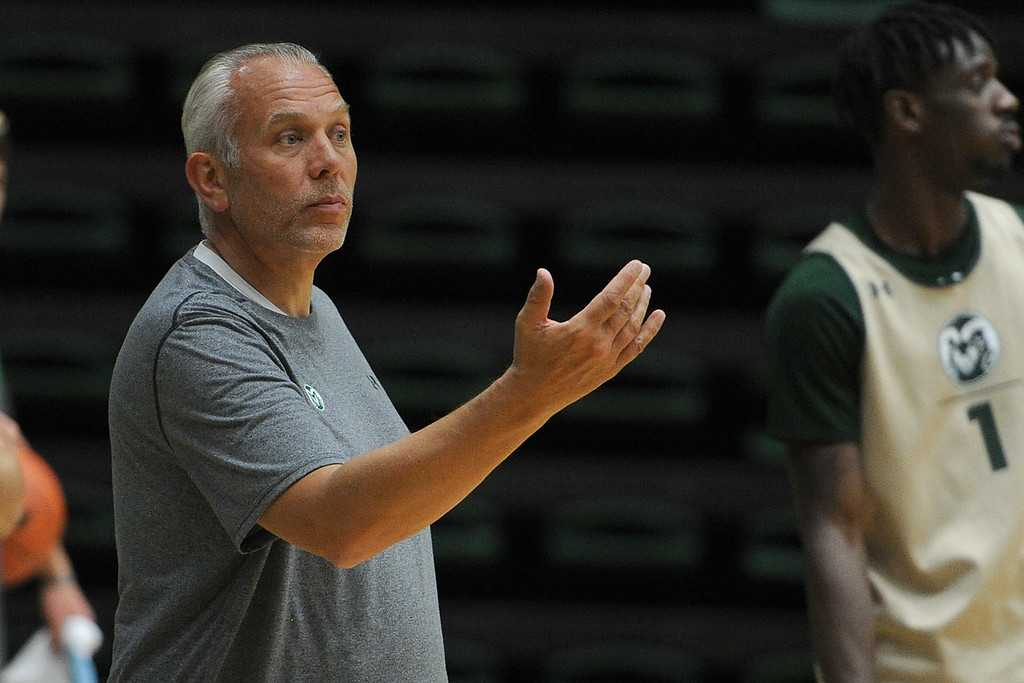 . Colorado State assistant coach Dave Thorson gives instruction during the team\'s first practice of the season Thursday, Sept. 27, 2018 at Moby Arena. (Sean Star/Loveland Reporter-Herald)