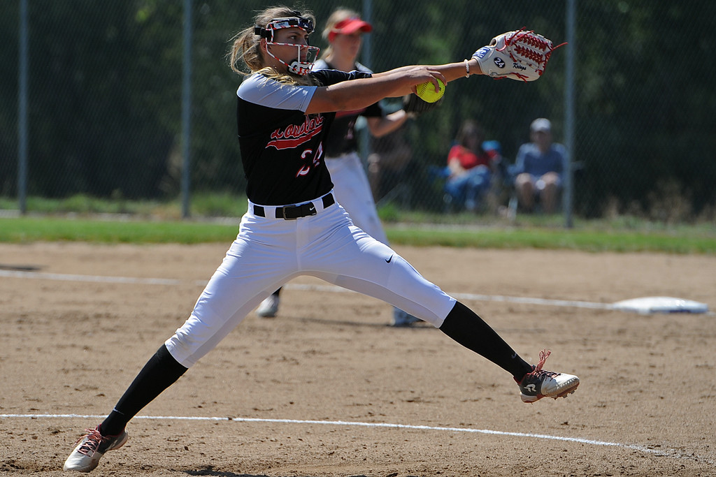. Loveland\'s Laurin Krings delivers a pitch during a game Saturday, Sept. 8, 2018 at Mountain View High School in Loveland. (Sean Star/Loveland Reporter-Herald)