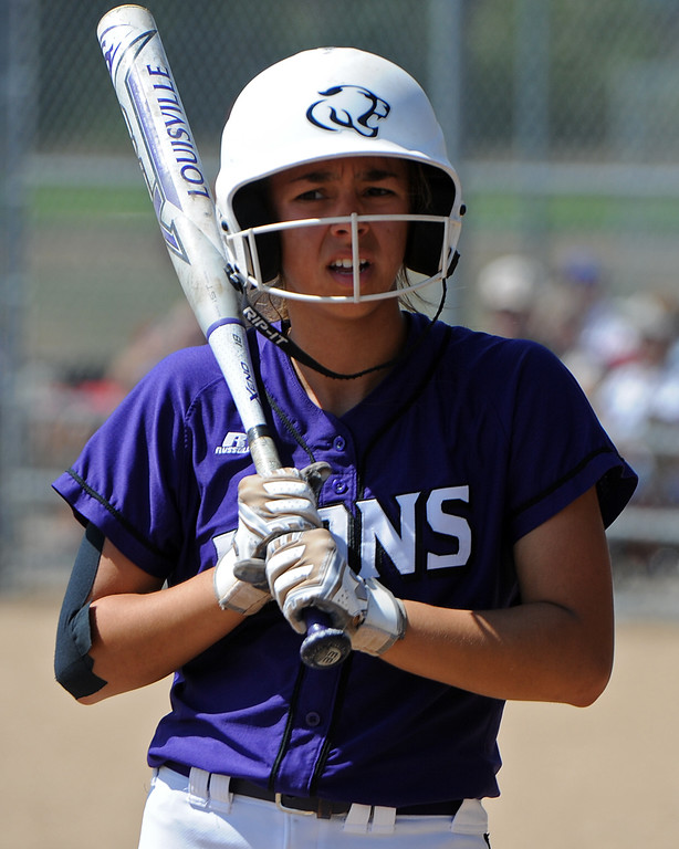 . Mountain View\'s Nya Chacon waits on the on-deck circle during a game Saturday, Sept. 8, 2018 at Mountain View High School in Loveland. (Sean Star/Loveland Reporter-Herald)
