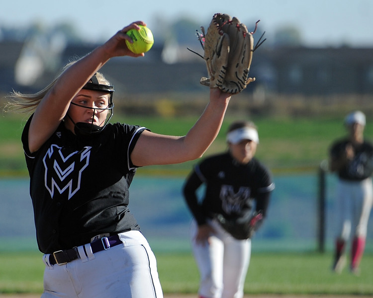 Mountain View's Bailey Carlson delivers a pitch during a game Thursday, Oct. 4, 2018 at Mountain View High School. (Sean Star/Loveland Reporter-Herald)