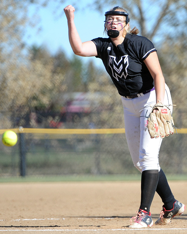 . Mountain View\'s Bailey Carlson pitches during the first day of the 4A state softball tournament on Friday, Oct. 19, 2018 at Aurora Sports Park. (Sean Star/Loveland Reporter-Herald)