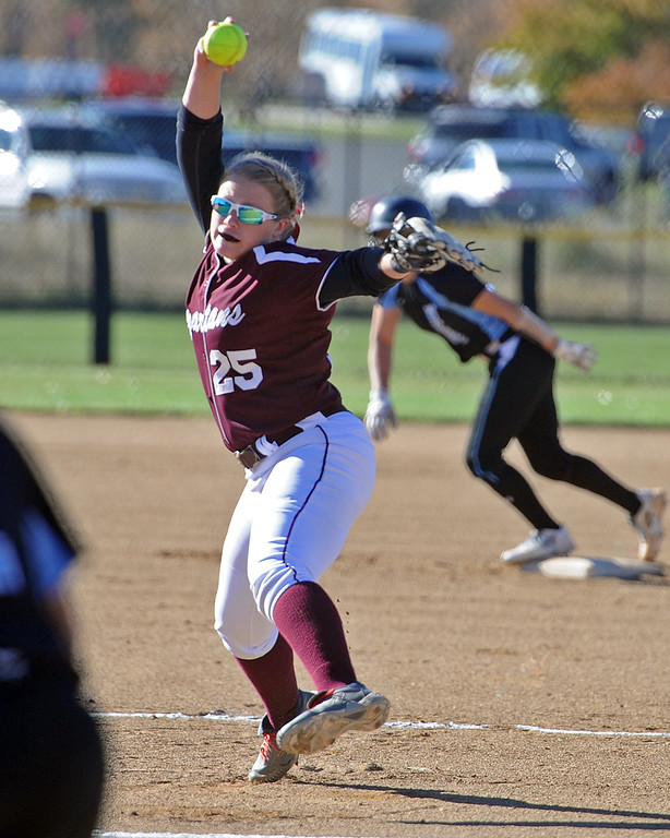 . Berthoud\'s Sarah Jorissen pitches to Pueblo West during the first day of the 4A state softball tournament on Friday, Oct. 19, 2018 at Aurora Sports Park. (Sean Star/Loveland Reporter-Herald)