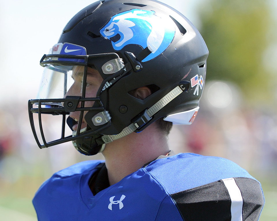 . Resurrection Christian\'s Tanner Applebee waits on the sideline during a game against The Classical Academy on Saturday, Sept. 15, 2018 at Loveland Sports Park. (Sean Star/Loveland Reporter-Herald)