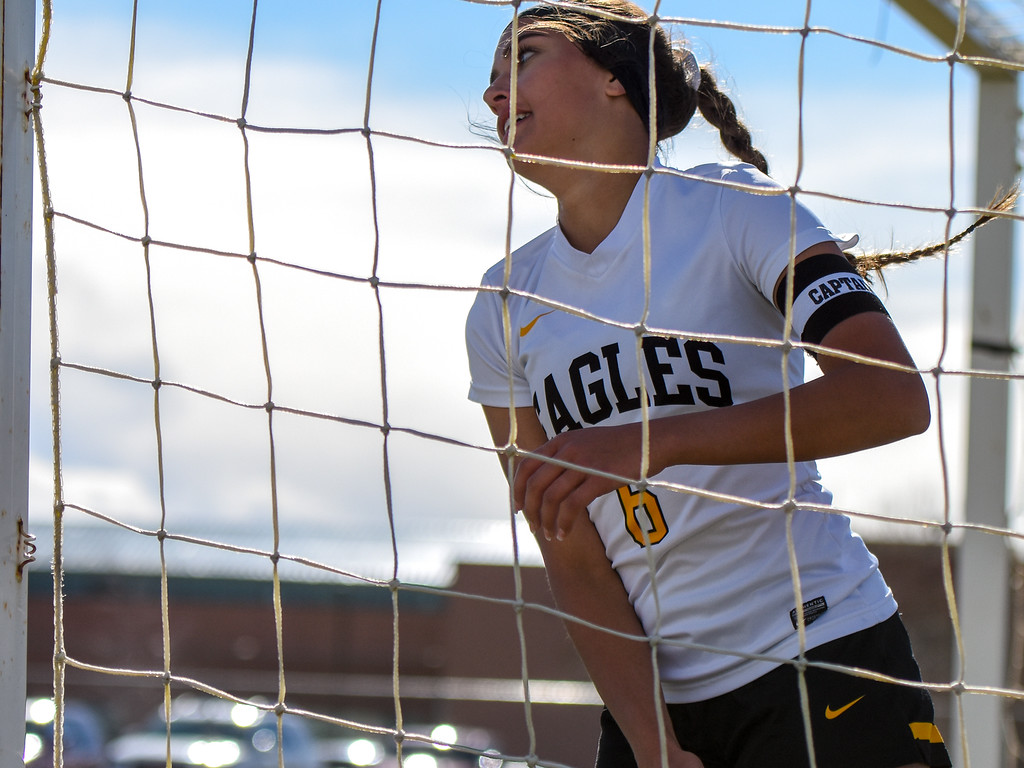 . Thompson Valley\'s Kaili Campbell leaves the net after scoring a goal against crosstown rival Mountain View on Tuesday April 17, 2018 at MVHS. (Cris Tiller / Loveland Reporter-Herald)