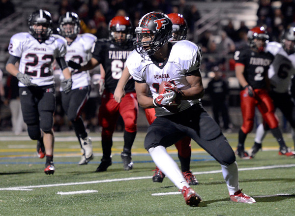 """Fairview vs Pomona Football008.JPG Fairview High School players watch as Deshon Mayes, No. 11, intercepts the ball during a game on Friday, Oct. 19, at Boulder High School. For more photos of the game go to  <a href=""""http://www.dailycamera.com"""">http://www.dailycamera.com</a><br /> Jeremy Papasso/ Camera"""