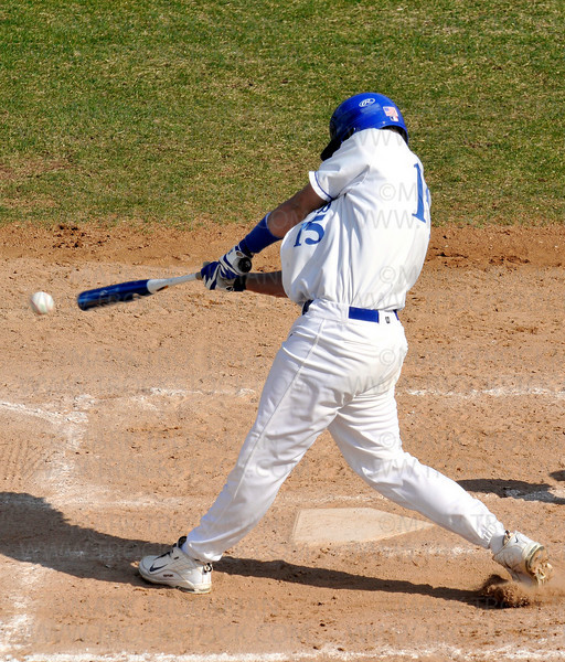 Royals senior Christopher Anderson smacks the first of his three home-runs against Benilde-St. Margaret's Thursday, April 30 in Minnetonka.