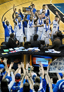 Three-peat!  The 2011 Hopkins boys basketball team takes takes their Class 4-A state championship trophy to their adoring fans after beating Eden Prairie 64-52 Saturday, Mar. 26, at Target Center in Minneapolis.