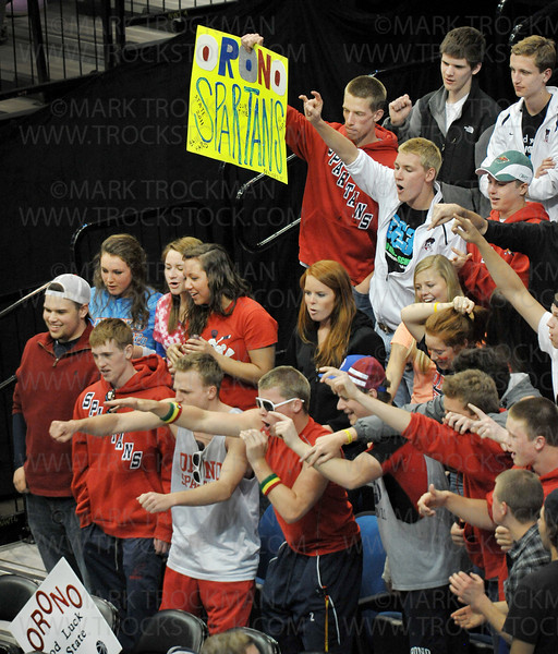 Orono fans whoop it up for their team before they won the state Class 4-A basketball championship against Columbia Heights 85-76, Saturday, Mar. 26, in Minneapolis.