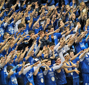 Hopkins Royals fans keep the Class 4-A championship game alive while watching their team win their third straight state championship 64-52 Saturday, Mar. 26, against Eden Prairie at Target Center in Minneapolis.