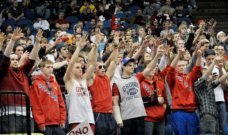 Orono's loyal fans send good-luck mojo while a Spartan player makes free throws Saturday, Mar. 26, at Target Center in Minneapolis. The Spartans beat Columbia Heights 85-76 to win the state Class 3-A championship.