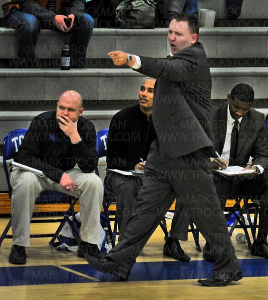 Skippers head coach Tom Dasovich has words for the referee Friday, Feb. 1, at Minnetonka High School.  Edina  beat Lake Conference rivals Minnetonka 81-73.