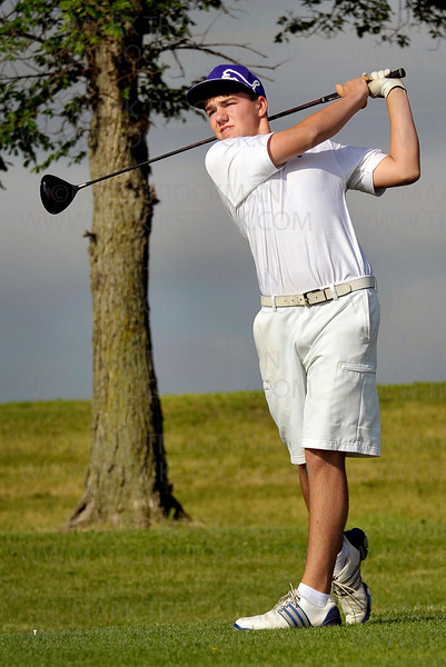 Orono freshman Dan Lensing watches his drive at Ridges at Sand Creek in Jordan, Minn., Thursday, June 16.  Lensing finished the Class 2A Boys' State Golf Tournament tied for ninth place with a combined score of 148.