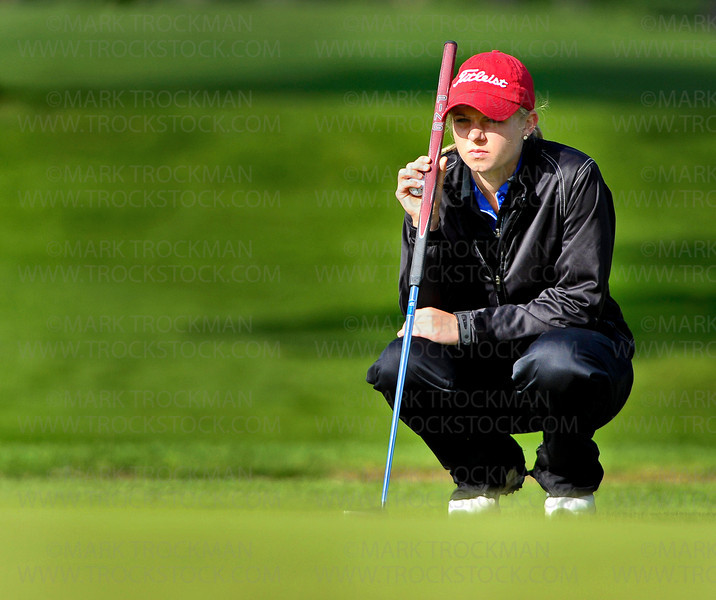 Wayzata sophomore Sarah Burnham lines up a putt at the girls 3A state golf tournament Tuesday, June 12, at Bunker Hills Golf Course in Coon Rapids.   Burnham tied for 13th place, with rounds of 80, and 83.