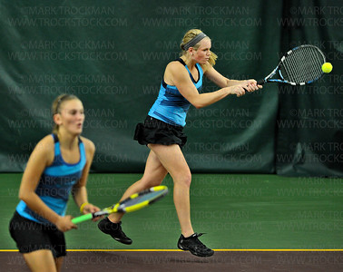 Minnetonka No. 1 doubles players Theresa Tebon, left, and Sydney Baldwin trounced their girls' state tournament quarterfinal opponents from Stillwater 6-2, 6-0, Tuesday, Oct. 23, at Baseline Tennis Center in Minneapolis.