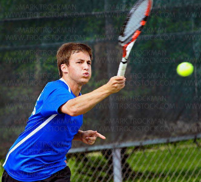 Royals No. 1 singles player, senior Ryan Erickson, beat his Wayzata foe, sophomore Dustin Britton, in straight sets 6-0, 6-1, to win the Section 6-2A final Wednesday, May 25, at Hopkins High School.