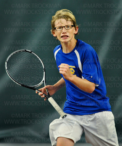 The joy of victory.  Wayzata #1 singles player Nick Beaty reacts after winning another point against Edina's Max Olson Thursday, May 24, at Baseline Tennis Center in Minneapolis.  Beaty went on to beat Olson 2-6, 6-3, 7-5.