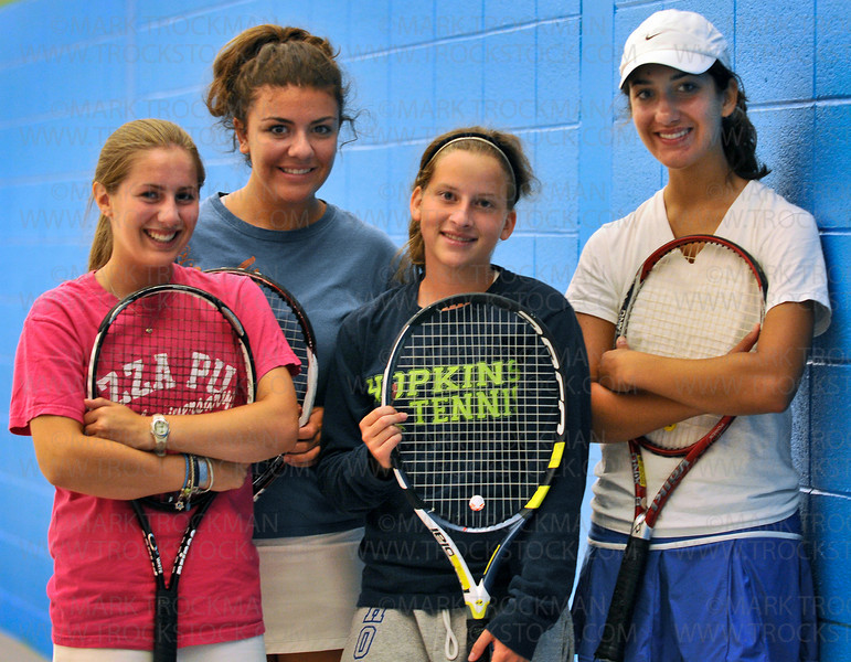 Hopkins girls tennis standout seniors, left to right, Aly Ketover, Nadia Tirandazi, Laura Golob and Lauren Sadowsky at team tryouts Friday, August 21, in Minnetonka.