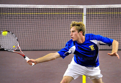 Wayzata No. 1 doubles team player Duncan Sallsstrom returns a volley from his Mounds View rivals during the State Class 2-A Quarterfinals Tuesday, June 7, at Baseline Tennis Center on the University of Minnesota campus in Minneapolis.  Wayzata beat Mounds View's No.1 doubles team 6-0, 6-2.
