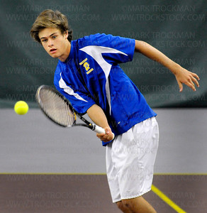 Wayzata No. 1 doubles team player Jack Graven volleys with his Mounds View foes at the State Class 2-A Quarterfinals Tuesday, June 7, at Baseline Tennis Center on the University of Minnesota campus in Minneapolis.  Wayzata beat Mounds View's No.1 doubles team 6-0, 6-2.