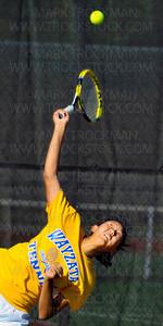 Wayzata #1 singles player, sophomore Kelly Yang, serves to Hopkins #1, sophomore Ida Ramic, Thursday, Sept. 13, in Minnetonka.  Yang beat Ramic in straight sets, 6-3, 6-2.