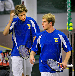 Wayzata tennis No. 1 doubles teammates Jack Graven, left, and Duncan Sallstrom strategize between games against Mound View's No. 1 doubles team Tuesday, June 7, at Baseline Tennis Center in Minneapolis.  Wayzata won the state Class 2-A quarterfinal match 6-0, 6-2.