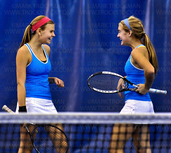 Blake No. 1 doubles players Ellie Rudd, left, and Maddy Hall defeated their Rochester Lourdes foes, 6-2, 6-2, at Reed Sweatt Tennis Center in Minneapolis Wednesday, Oct. 26.  Blake beat Rochester Lourdes 6-1 in the state tournament team competition.