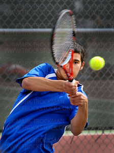 Hopkins senior No. 2 singles player Michael Fields, lost his match against Wayzata's No. 2 singles player, Scott Vezzosi, 7-5, 7-5, at the Section 6-2A finals Wednesday, May 25, at Hopkins High School.