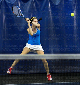 Blake girls No. 1 singles player, junior Claire Carpenter, during her match against Rochester Lourdes' Margaret Pearson Wednesday, Oct. 26, at Reed Sweatt Tennis Center in Minneapolis.  Carpenter lost to Pearson, 4-6, 6-1, 10-8.  Blake beat Rochester Lourdes 6-1 in the state tournament team competition.
