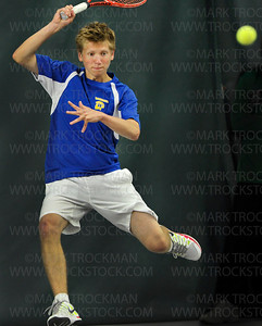 Athletic play by Wayzata #2 singles player Dustin Britton couldn't overwhelm Edina's #2 Tyler Kuck in section play at Baseline Tennis Center in Minneapolis, Thursday, May 24, 2012.  The Hornet's Kuck defeated Britton 2-6, 7-5, 6-7.