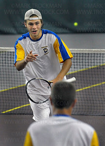 Wayzata No. 1 doubles player Jack Graven, top, is all smiles as he approaches his partner Jason Kabarowski after the duo defeated their Eagan opponents 6-4, 6-3, in Class 2A state semifinal action Wednesday, June 6, at Baseline Tennis Center in Minneapolis.