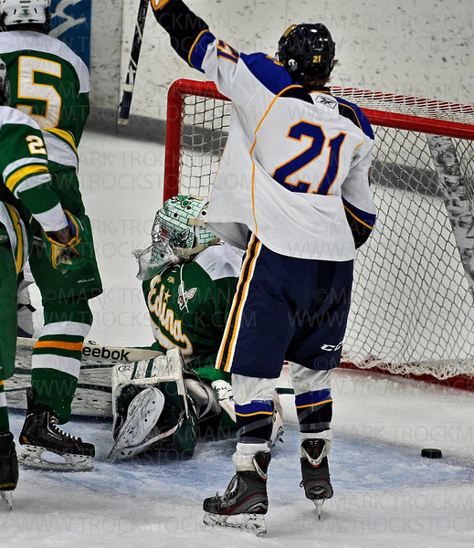 Trojans junior forward Jack Sorensen (21) lifts his stick in triumph after sophomore forward Kyle Olson scored Wayzata's third goal on Edina goaltender Willie Benjamin, in the second period, Saturday Jan. 26, at Plymouth Ice Center.  The Hornets defeated Wayzata in Lake Conference action 5-4.