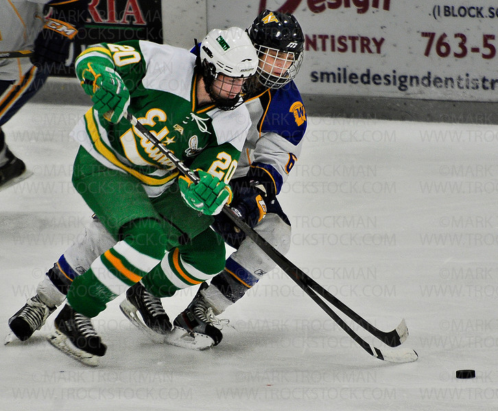 Wayzata freshman forward Maxwell Zimmer, right, fights Hornets sophomore Dylan Malmquist for the puck Saturday Jan. 26, at Plymouth Ice Center.  Edina beat the Trojans in Lake Conference action 5-4.
