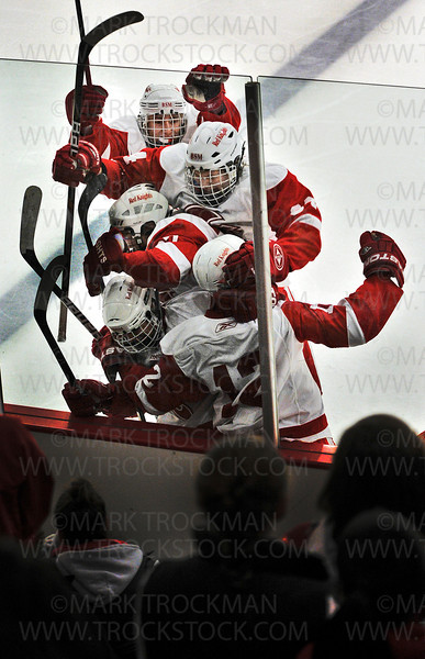 The Benilde-St. Margaret's squad celebrates forward T.J. Moore's second period goal against the Trojans Thursday, Jan. 3, at the St. Louis Park Rec Center.  The Red Knight's beat Wayzata 5-2.